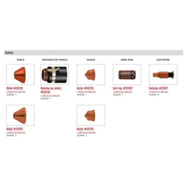 Kit esențial Ohmic pentru tăierea mecanizată cu Powermax 125 - 851476