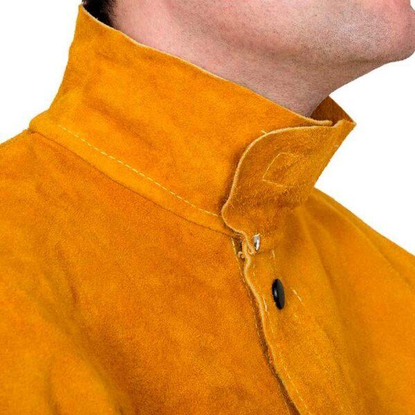 Jacheta piele cu spate din bumbac Golden Brown - 44-2530