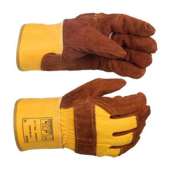 Manusi de lucru WELDAS cu palma captusita si manseta de protectie, Lava Brown, 26 cm - 10-2209LB