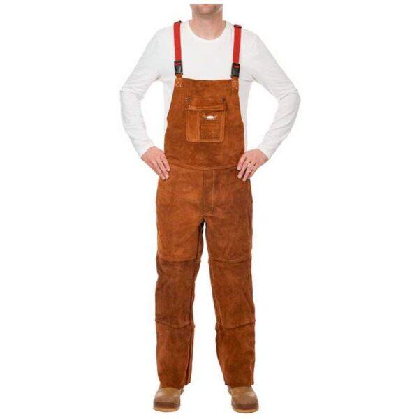 Pantaloni piele cu pieptar Lava Brown 140cm - 44-7440/7648