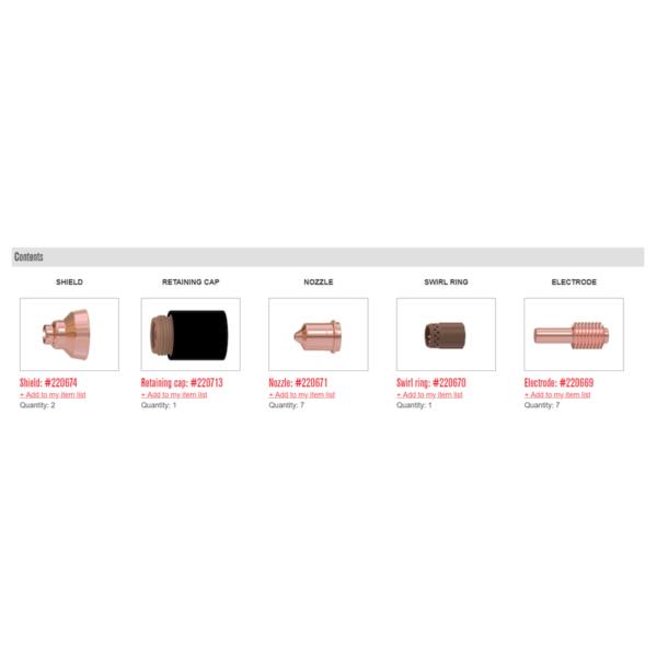 Kit esențial componente pentru tăiere manuală cu Powermax 45 - 851477