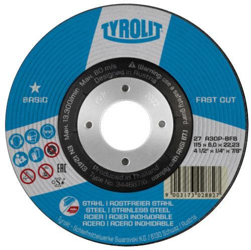 Disc de polizare dura oțel/inox FASTCUT basic Tyrolit -